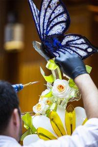 Papillon en sucre soufflé.